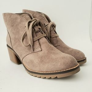 Plume By  Farylrobin Taupe Lace Up Ankle Boots 6.5